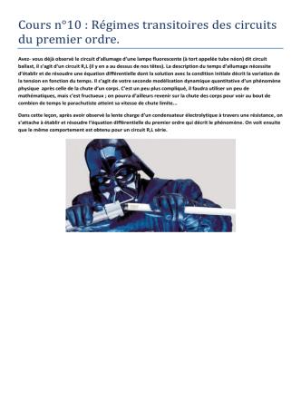 Cours n°10 : Régimes transitoires des circuits du