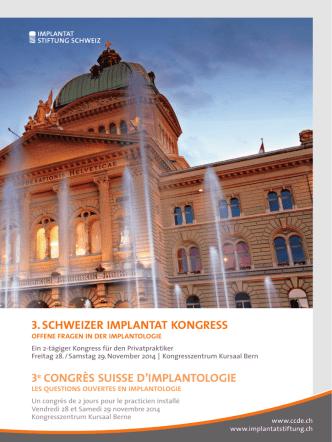 3. Schweizer implantat KongreSS 3e CONGRÈS SUISSE D