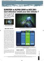 Comparatif ALPHA 2000/EUROTEK/ACE 250