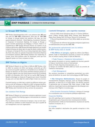 ALGÉRIE - BNP Paribas Entreprises et PME