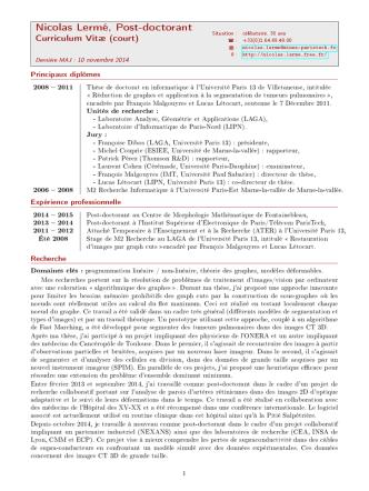 Curriculum Vitæ de Nicolas Lermé