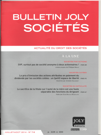 ACTUALITÉ DU DROIT DES SOCIÉTÉS SVP,surtout pas de société