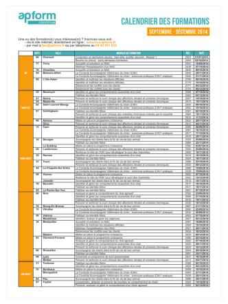 calendrier des formations - eva - gipsa