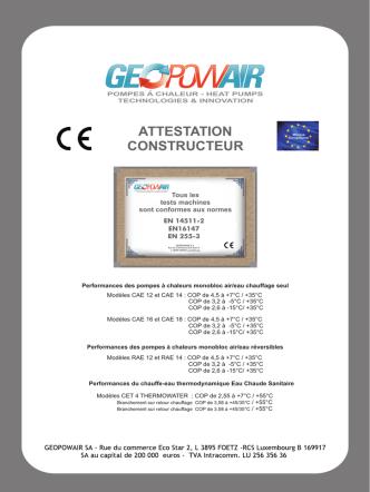 ATTESTATION CONSTRUCTEUR performance PAC
