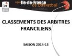 Classements arbitres régionaux 2014-2015