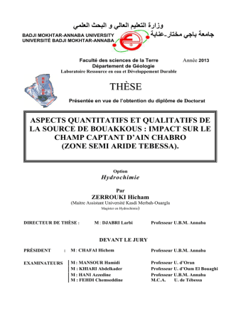 Aspects quantitatifs et qualitatifs de la source de Bouakkous