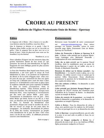 Bulletin de mai-juin 2014 - Accueil - Eglise protestante unie Reims