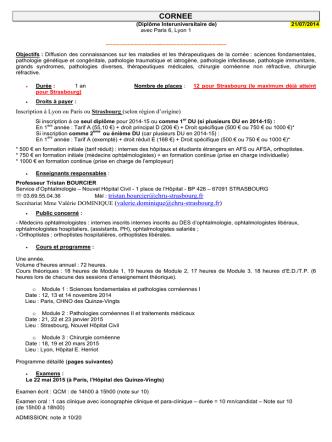 Cornée - Faculté de Médecine de Strasbourg