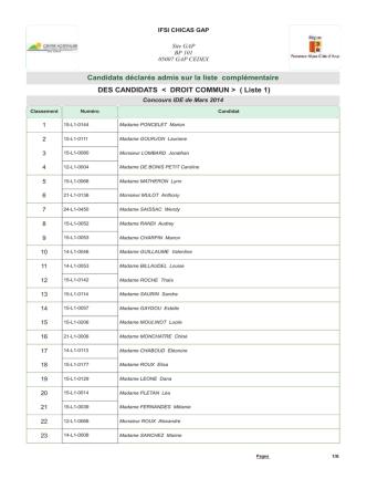 (Droit Commun) Complémentaire L1LC ( PDF )