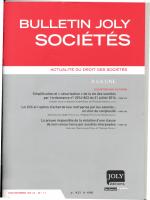 ACTUALITÉ OU DROIT DES SOCIÉTÉS