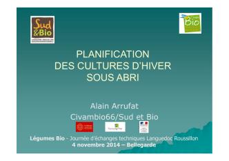 5 Planification des cultures ARRUFAT CIVAM BIO 66 JT Sud Est 4 11