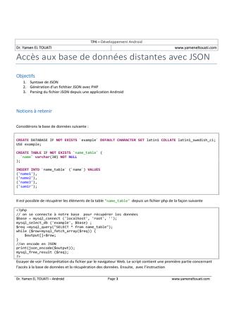 Accès aux base de données distantes avec JSON