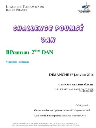 Circulaire Challenge Poumsé DAN - La Ligue de Taekwondo Ile de