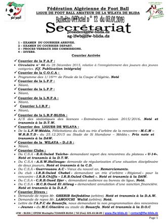 bulletin n°12 - Ligue de Foot ball wilaya de BLIDA