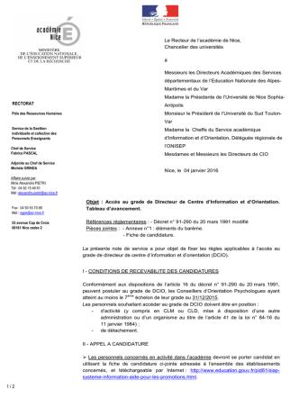 Circulaire TA DCIO 2015-16 - Ministère de l`Éducation nationale, de