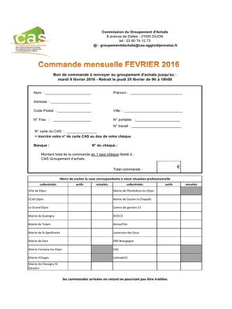 commande fevrier 2016 - CAS de l`agglomération Dijonnaise