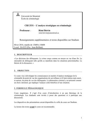 CRI 2531 A - École de criminologie