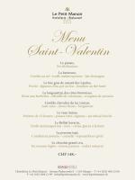Menu de la Saint-Valentin - Hostellerie Le Petit Manoir