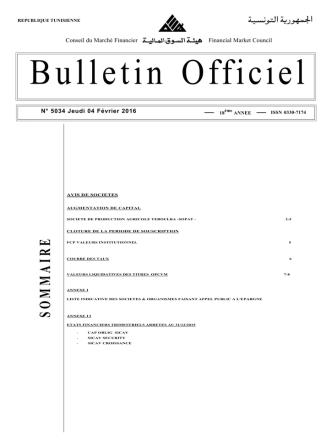 Bulletin Officiel N° 5034 du Jeudi 04 Février 2016