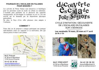 cycle découverte escalade séniors - M.J.C. Aix-en