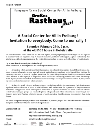 A Social Center for All in Freiburg! Invitation to