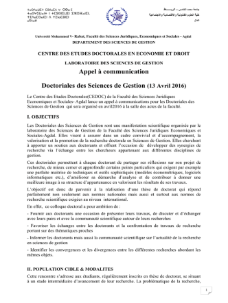 Appel à communication Doctoriales des Sciences de Gestion (13