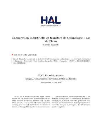 Cooperation industrielle et transfert de technologie : cas - Hal-SHS