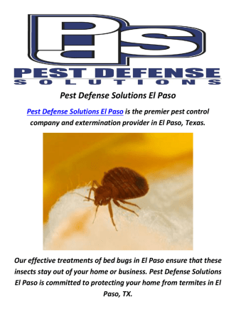 Bed Bugs in El Paso TX by Pest Defense Solutions