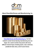 Diversified Bronze Bushing Manufacturing in Cambridge, MN