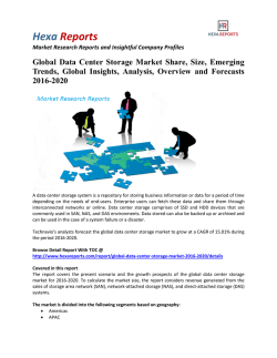 Global Data Center Storage Market Share, Analysis and Forecasts 2016-2020: Hexa Reports