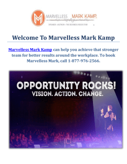 Marvelless Mark Kamp : Keynote Speaker In Cleveland
