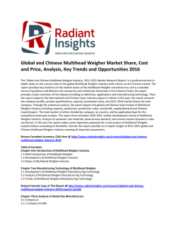 Global and Chinese Multihead Weigher Market Size, Analysis, Key Trends and Opportunities 2016