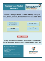 Global optical coatings market will be worth of USD 10.39 billion in 2019, growing at a CAGR of 7.2% by 2019.