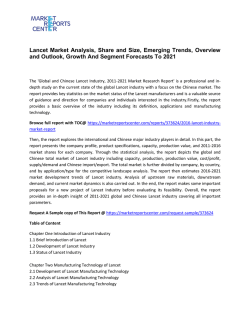 Lancet Market Size, Trends, Growth and Forecasts To 2020
