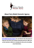 Fairy Maids Domestic Agency : Nanny in Malibu, CA