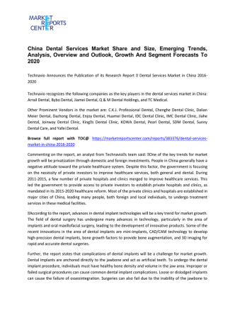 China Dental Services Market Growth, Demand, Overview and Analysis To 2020