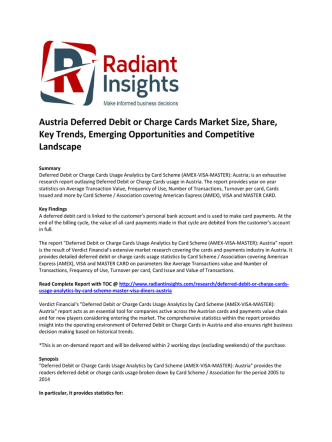 Austria Deferred Debit or Charge Cards Market Size, Share, Key Trends, Emerging Opportunities and Competitive Landscape