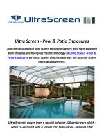Ultra Screen : Pool Screen in Florida