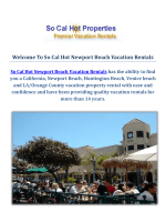 So Cal Hot Newport Beach Vacation Rentals - Efficient & Quality Property Management