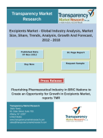 Excipients Market Global Excipients Market to reach US$4.61 bn by 2018, Growth in Pharmaceuticals Industry to Drive Demand for Excipients