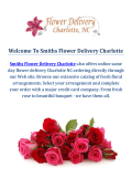 Call @ 980-238-3221 : Smiths Flower Delivery Charlotte NC
