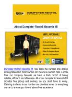Dumpster Rental Company in Macomb, MI