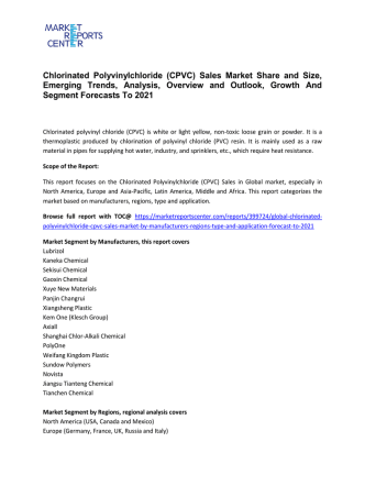 Chlorinated Polyvinylchloride (CPVC) Sales Market Growth, Demand, Price and Forecasts To 2021