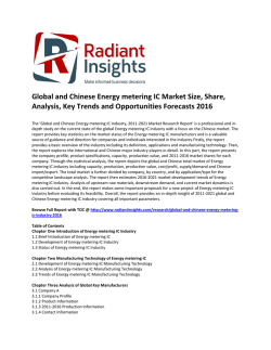 Global and Chinese Energy metering IC Market Size, Share, Key Trends and Opportunities Forecasts 2016