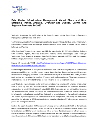 Data Center Infrastructure Management Market Size, Demand, Price and Analysis To 2020