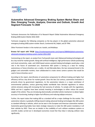 Automotive Advanced Emergency Braking System Market Size, Demand, Price and Analysis To 2020
