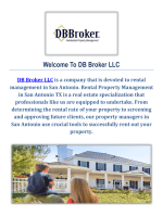DB Broker LLC Rental Property Management in San Antonio