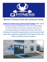 Personal Trainer At Q Fitness 24 Hour Gym and Personal Training
