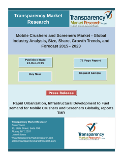 Mobile Crushers and Screeners Market - Industry Analysis, Size, Share, Forecast 2023