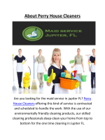 Perry House Cleaners Offers Maid Service In Jupiter FL